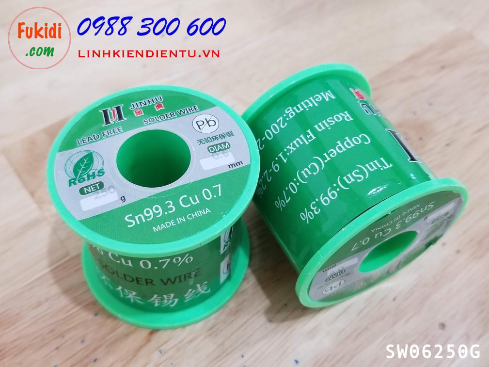 Cuộn dây thiếc hàn, chì hàn JINHU 0.6mm 250g  Sn99.3 Cu0.7 SW06250G