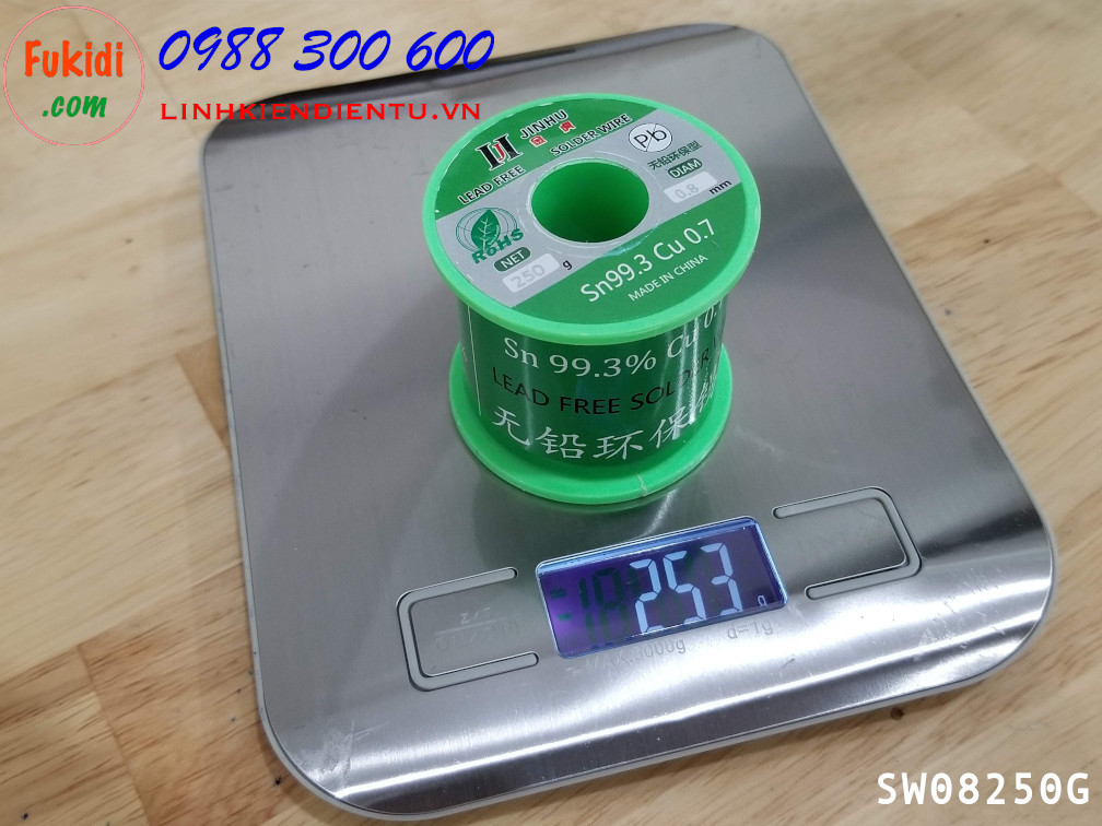 Cuộn dây thiếc hàn, chì hàn JINHU 0.8mm 250g  Sn99.3 Cu0.7 SW08250G