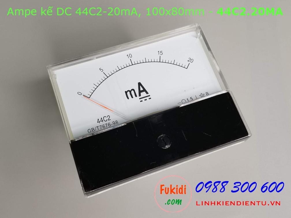 Ampe kế DC 44C2 20mA chỉ thị bằng kim, kích thước 100x80mm - 44C2.20MA