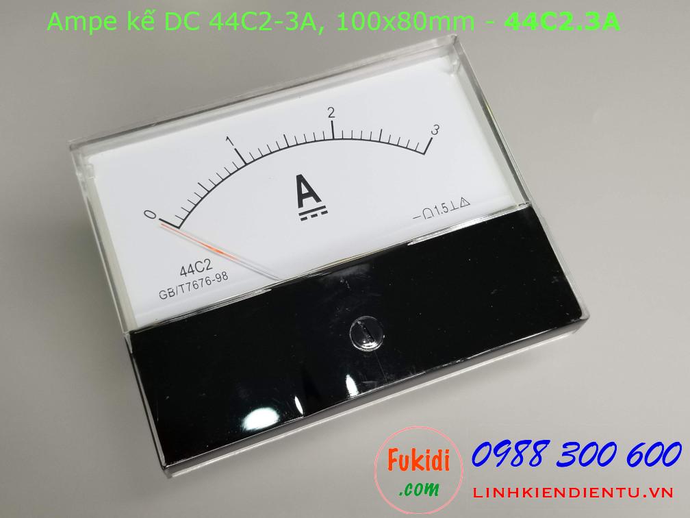 Ampe kế DC 44C2 3A chỉ thị bằng kim, kích thước 100x80mm - 44C2.3A