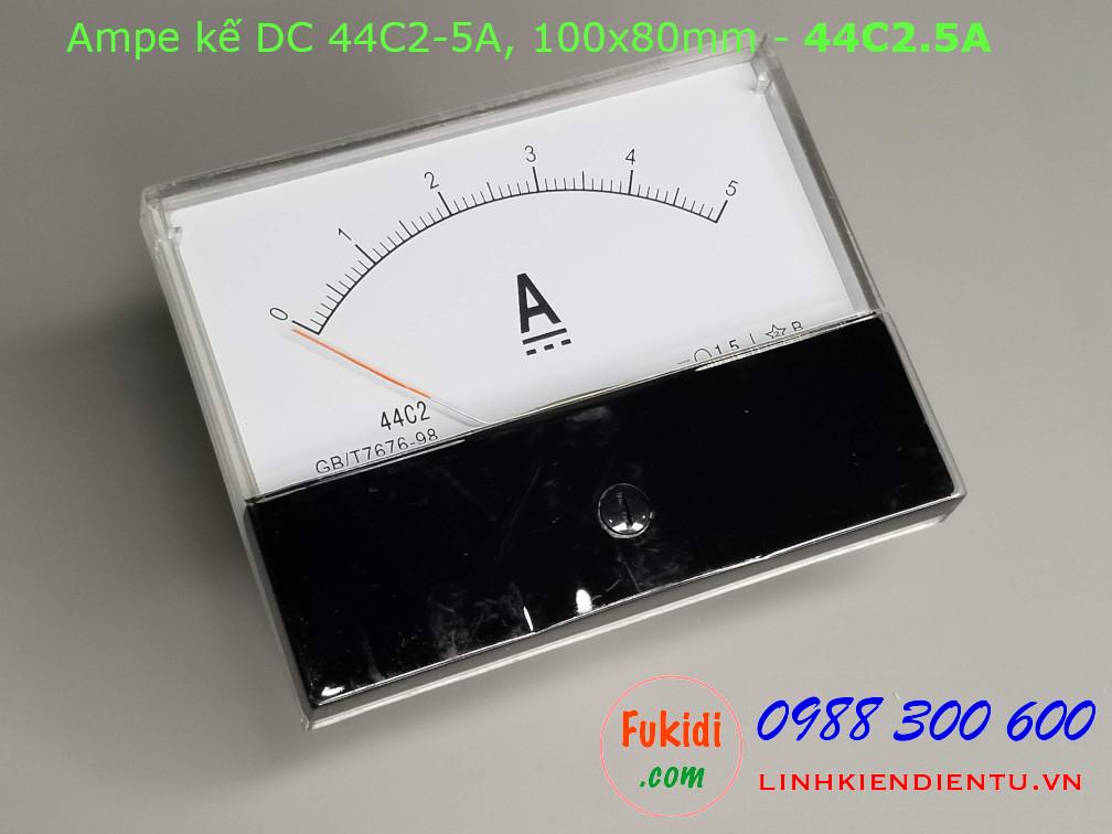 Ampe kế DC 44C2 5A chỉ thị bằng kim, kích thước 100x80mm - 44C2.5A