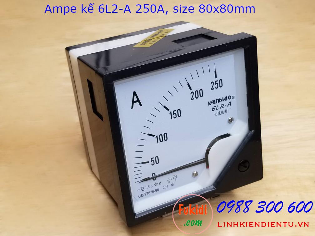 Ampe kế AC 6L2-A tầm đo 250A điện áp 2KV, size 80x80mm - 6L2A250