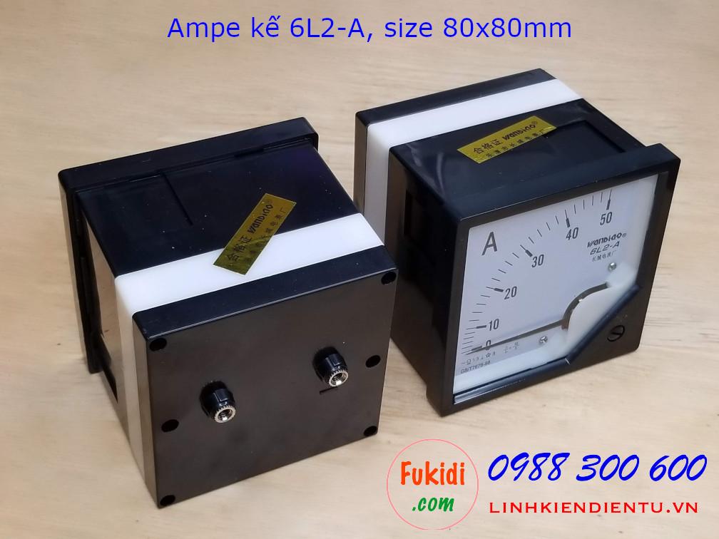 Ampe kế AC 6L2-A tầm đo 50A điện áp 2KV,  size 80x80mm - 6L2A50