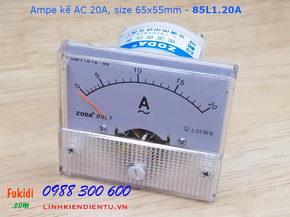 Ampe kế AC 20A - 85L1.20A, size 65x55mm