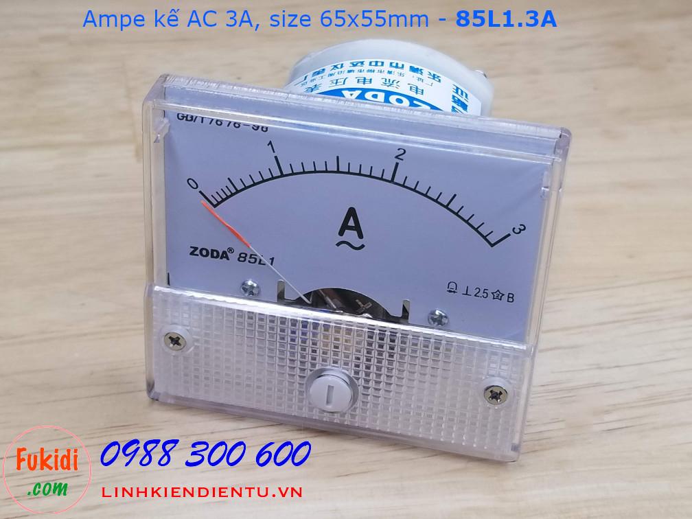 Ampe kế AC 3A - 85L1.3A, size 65x55mm