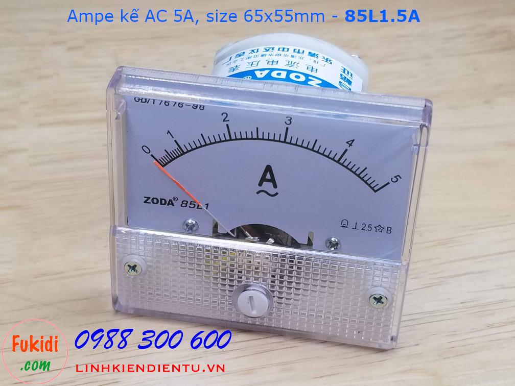 Ampe kế AC 5A - 85L1.5A, size 65x55mm