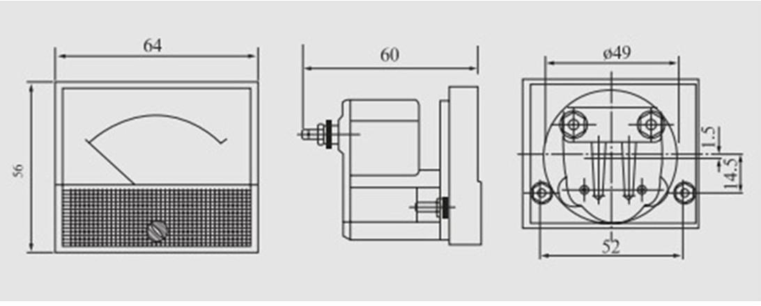 Ampe kế 85C1 đo dòng điện DC với tầm đo từ 0 đến 50mA