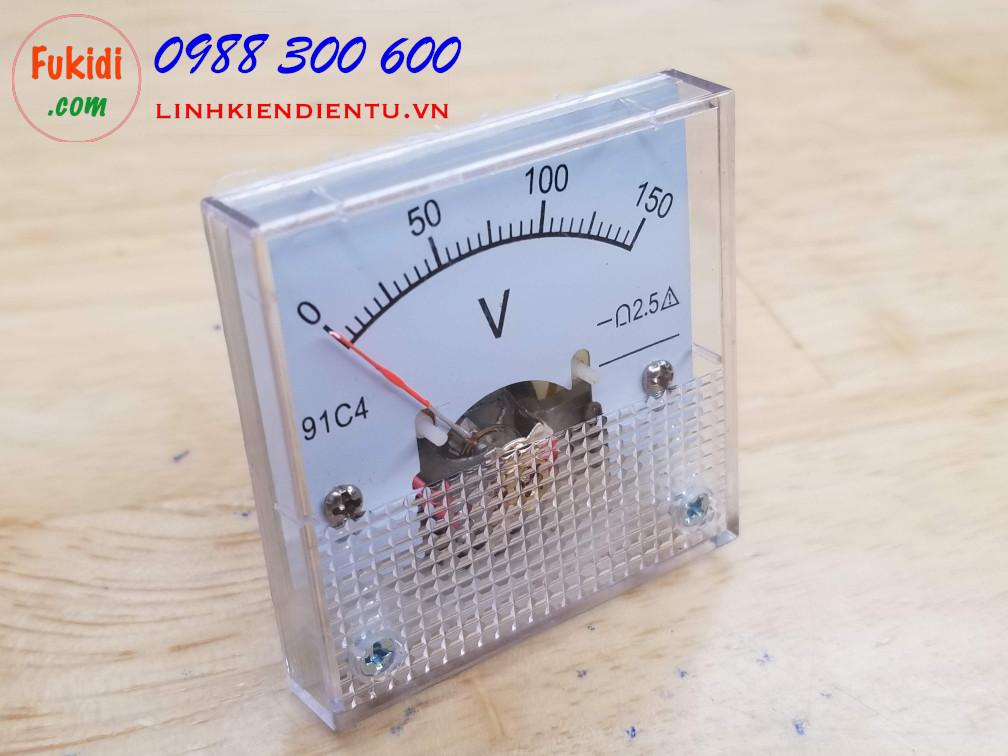 Đồng hồ đo điện áp 91C4 tầm đo từ 0-150V, size 45x45x36mm