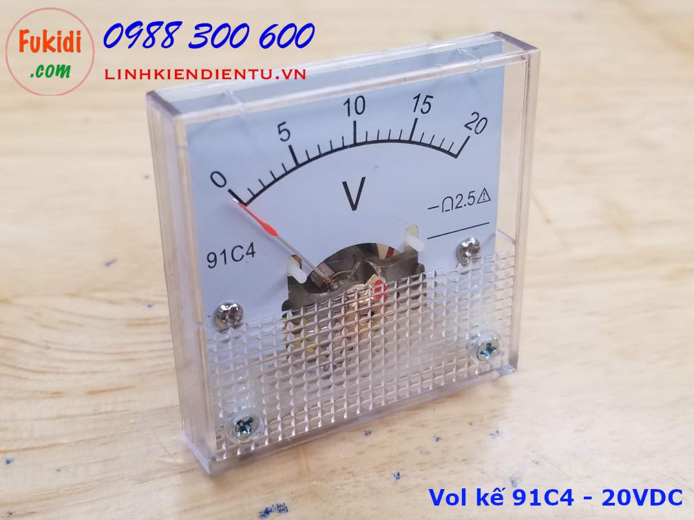 Đồng hồ đo điện áp 91C4 tầm đo từ 0-20V, size 45x45x36mm
