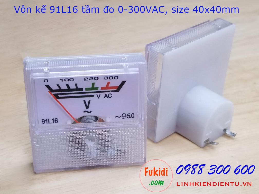 Vôn kế AC 91L16 tầm đo 0-300VAC dùng cho ổn áp, giám sát điện trong gia đình 91L16.300V