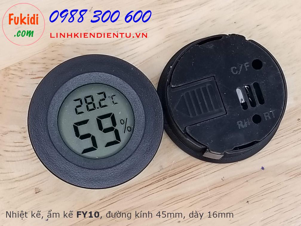 Nhiệt kế và ẩm kế, đồng hồ đo nhiệt độ và độ ẩm hình tròn phi 45mm hiển thị LCD FY10