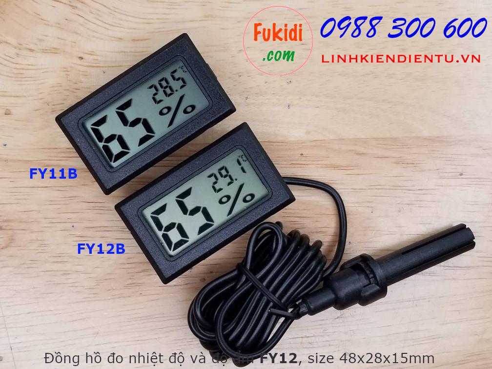 Nhiệt kế và ẩm kế, đồng hồ đo nhiệt độ và độ ẩm có đầu đò dài 1.5m, hiển thị LCD FY12