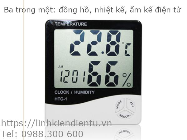 Ba trong một: đồng hồ, nhiệt kế và ẩm kế điện tử HTC-1