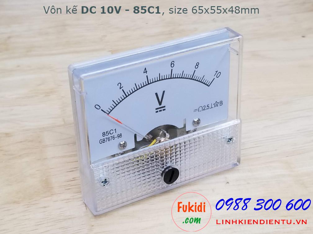 Vôn kế DC 10V 85C1 tầm đo 0-10V, kích thước 65x55x48mm