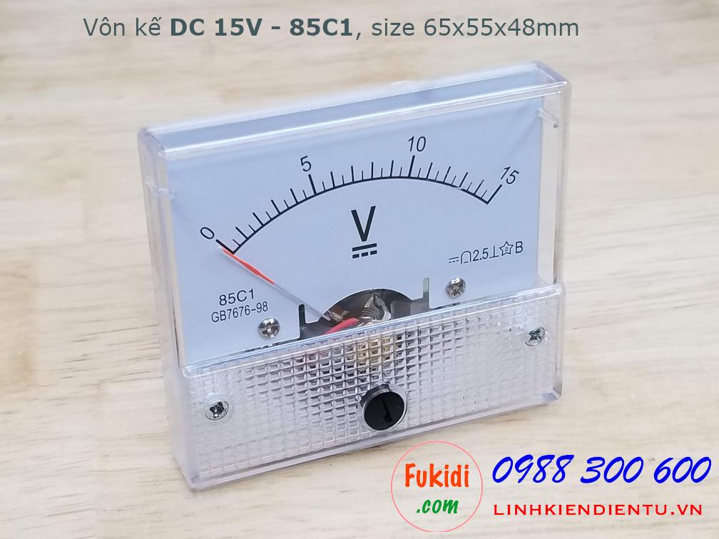 Vôn kế DC 15V 85C1 tầm đo 0-15V, kích thước 65x55x48mm