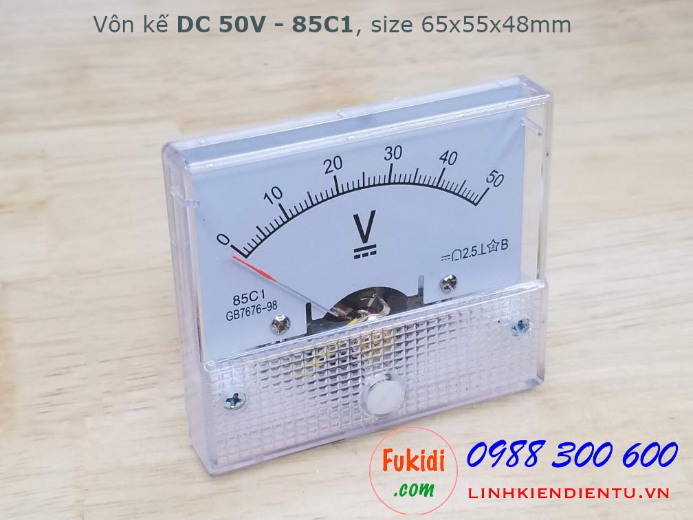 Vôn kế DC 50V 85C1 tầm đo 0-50V, kích thước 65x55x48mm