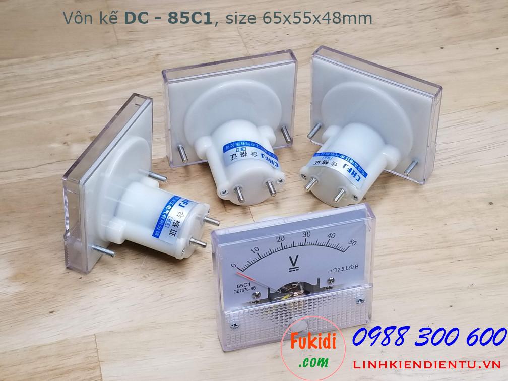 Vôn kế DC 20V 85C1 tầm đo 0-20V, kích thước 65x55x48mm