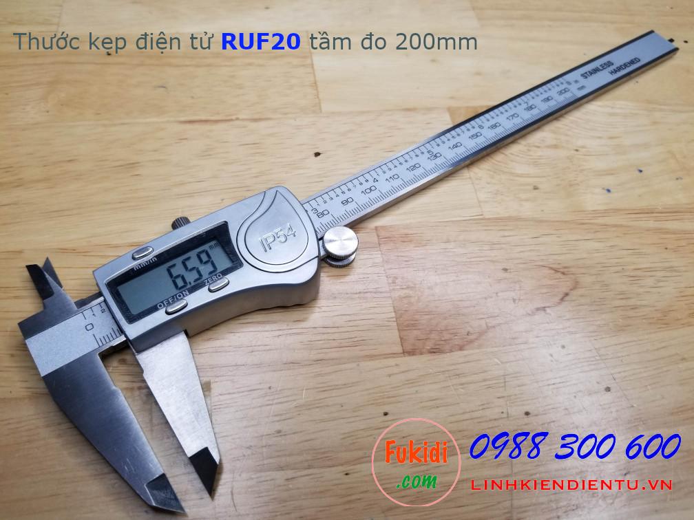 Thước kẹp điện tử RUF20, chống thấm nước IP54, tầm đo 200mm