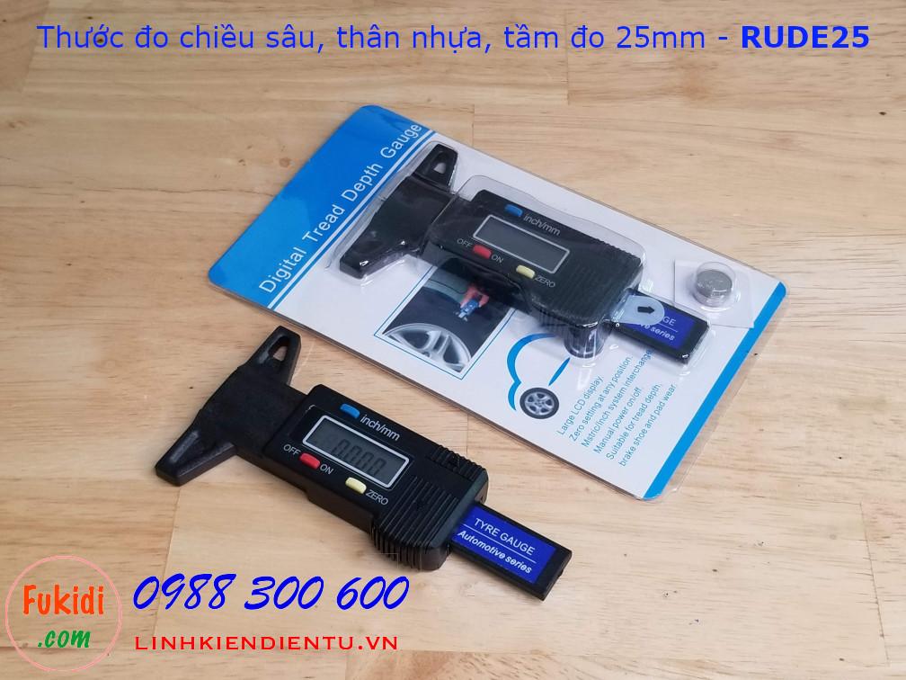 Thước đo độ sâu điện tử, chất liệu nhựa cứng tầm đo sâu 25mm model RUDE25