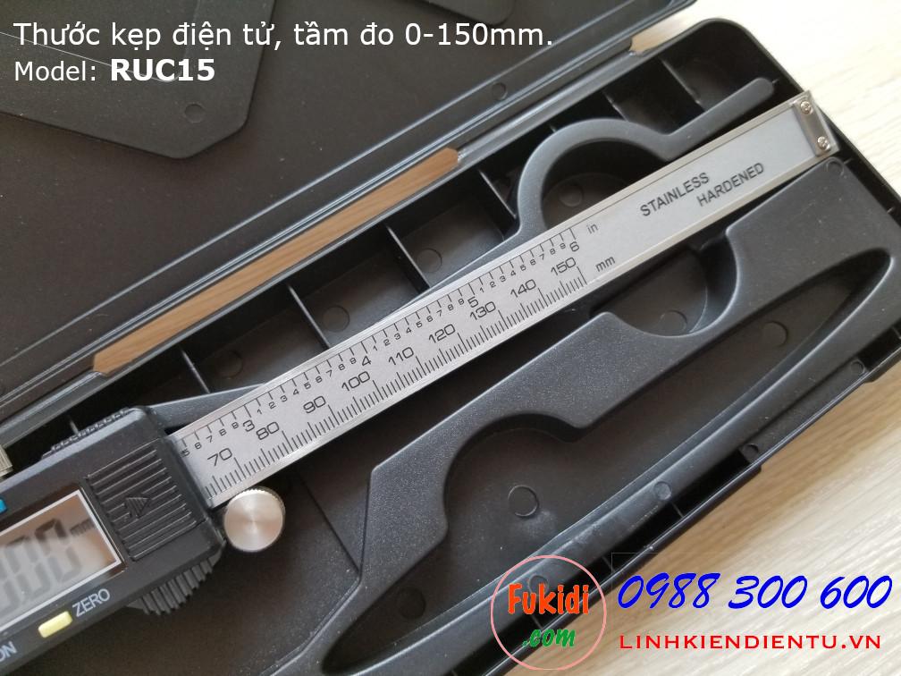 Thước kẹp điện tử RUC15, chất liệu nhựa và thép không rỉ, tầm đo 0-150mm