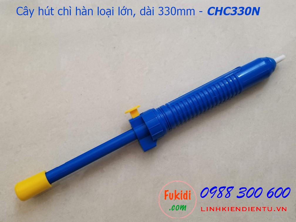 Cây hút chì hàn, hút thiếc hàn loại lớn, chiều dài 330mm, bằng nhựa màu xanh và xám CHC330P