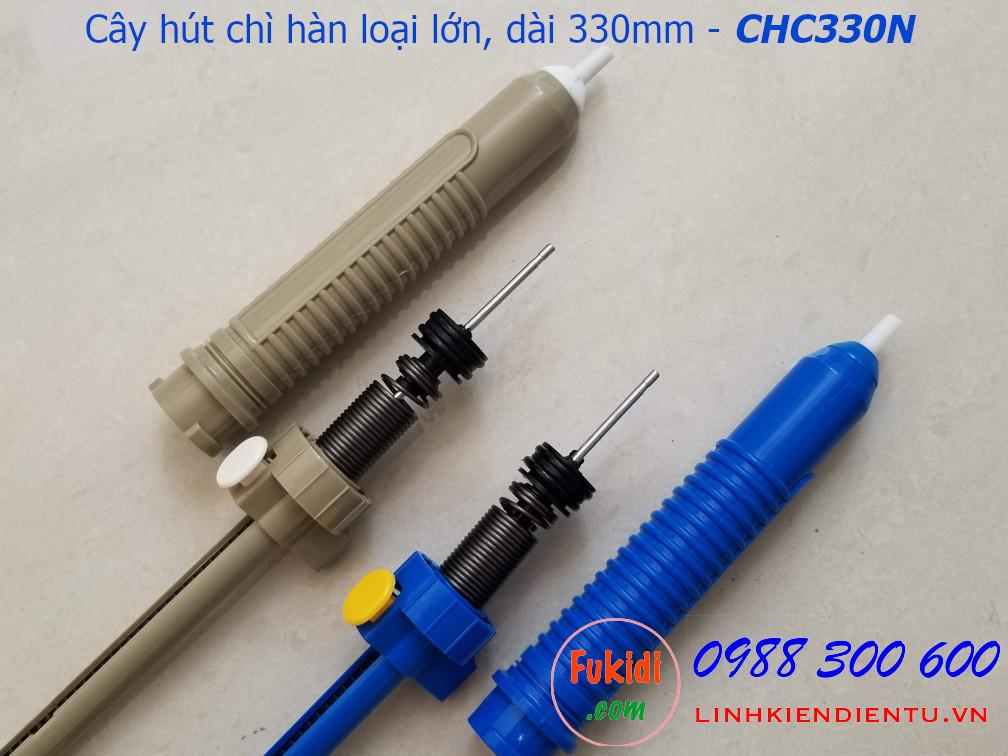 Cây hút chì hàn, hút thiếc hàn loại lớn bằng nhựa  dài 330mm,  màu xanh và xám CHC330P