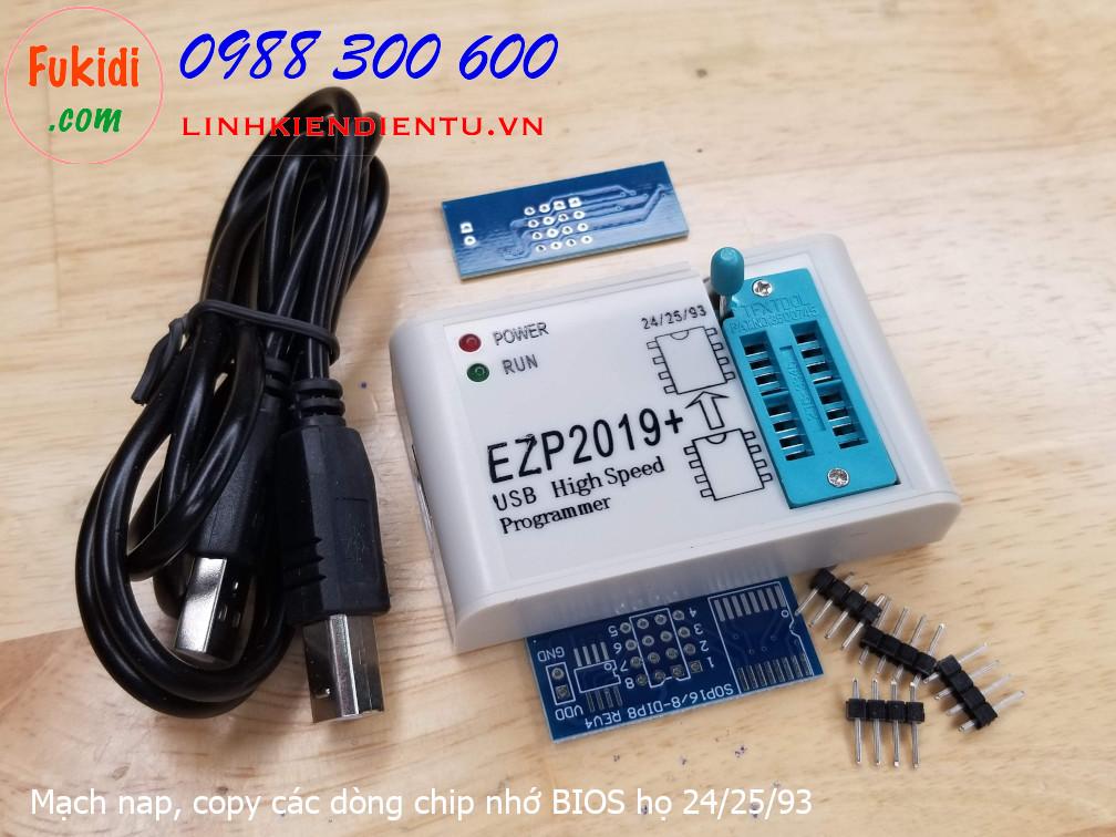EZP2019+ Mạch nạp, copy chip nhớ BIOS máy tính họ 24, 25, 93 EEPROM