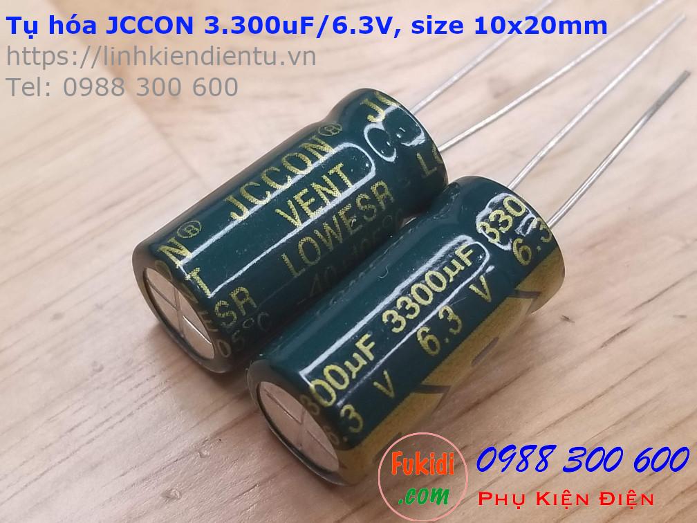 Tụ hóa JCCON 3300uF 6.3V size 10x20mm