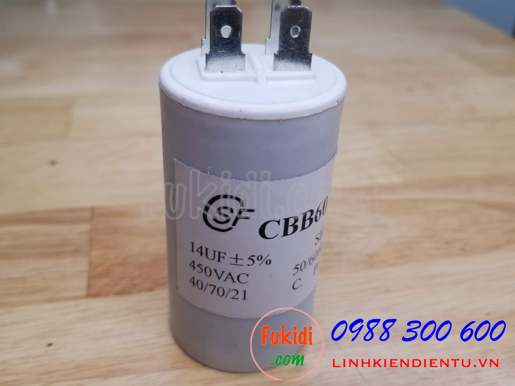 Tụ CBB60 14uF 450VAC size 40x74mm