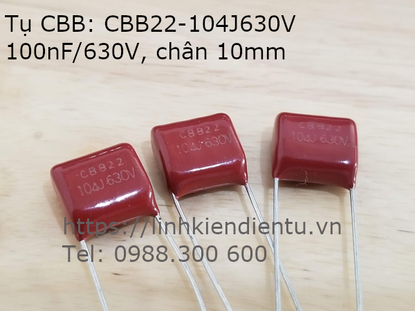 Tụ CBB CBB22 104J630V 100nF/630V khoảng cách chân 10mm