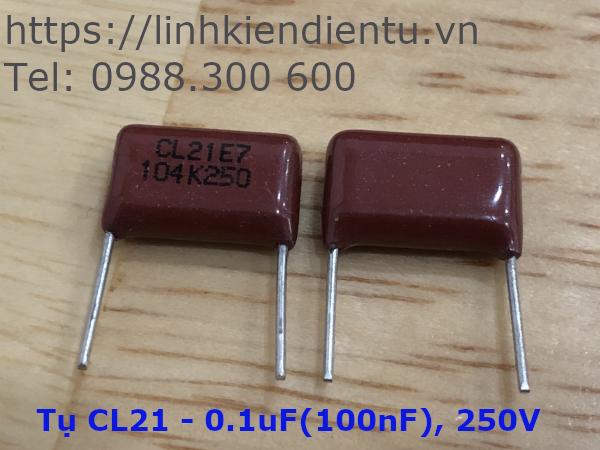 Tụ CL21 104K250: 0.1uF/250V sai số 1%