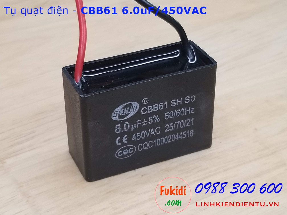 Tụ CBB61 6.0uF 450V - (dùng trong động cơ điện, quạt điện)
