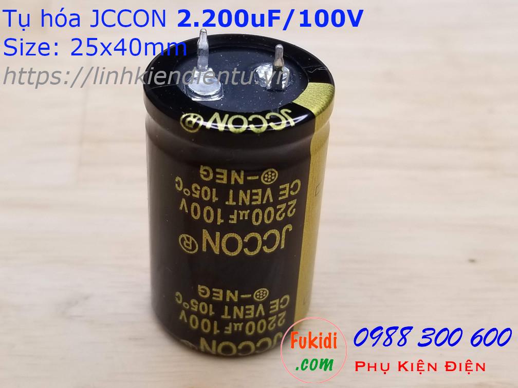 Tụ hóa 2200uF 100V size 25x40mm 2.200uF/100V