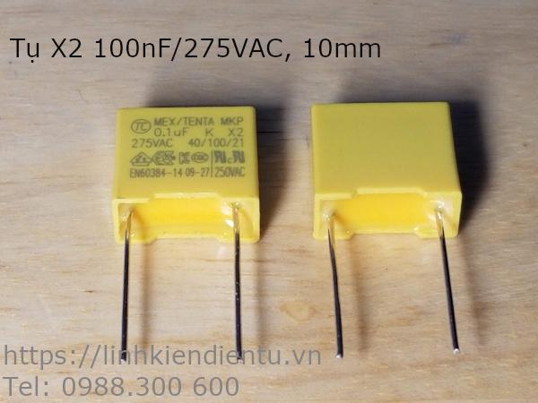 Tụ MKP-X2 104K 100nF/275V, chân cách nhau 10mm