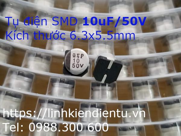 Tụ điện vỏ nhôm SMD 10uF/50V, 6.3x5.5mm