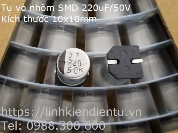 Tụ điện vỏ nhôm SMD 220uF/50V, 10x10mm