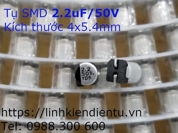 Tụ điện vỏ nhôm SMD 2.2uF/50V, 4x5.4mm
