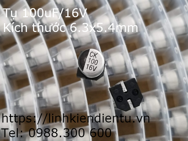 Tụ vỏ nhôm SMD 100uF 16V
