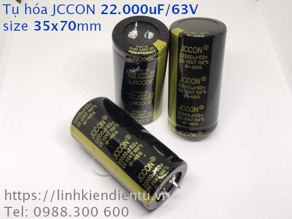 Tụ hóa JCCON 22.000uF/63V size 35x70mm chân cứng