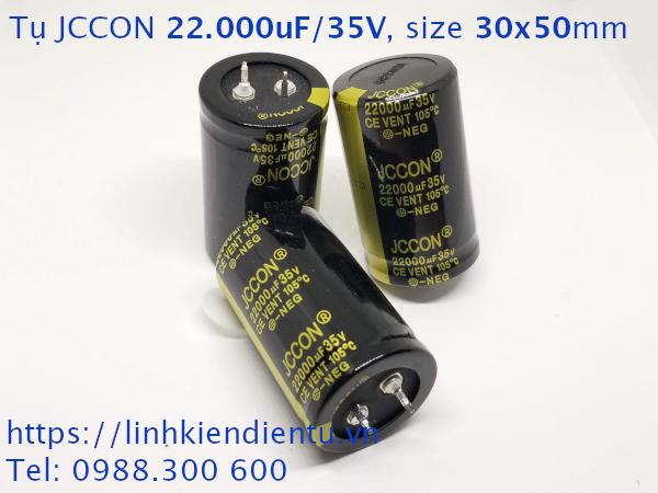 Tụ hóa JCCON 35v22000uf 22.000uF/35V size 30x50mm chân cứng