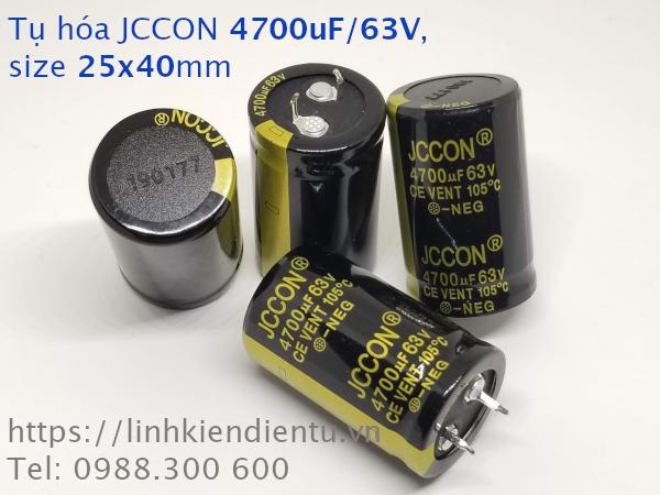 Tụ hóa JCCON 4700uF/63V size 25x40mm chân cứng