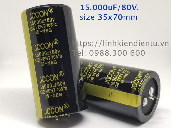 Tụ hóa JCCON 80v15000uf 15.000uF/80V size 35x70mm chân cứng