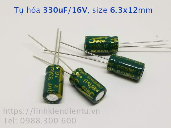 Tụ hóa 330uF/16V, size 6.3x12mm, châm cắm