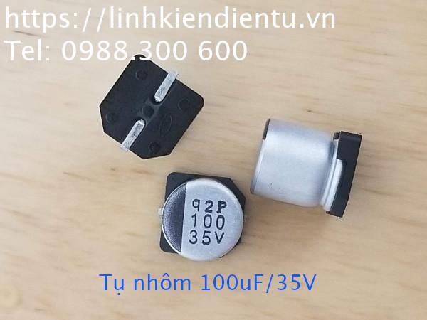 Tụ nhôm Nichicon 100uF/35V, 6.3x8mm