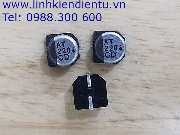 Tụ nhôm Panasonic 220uF 6.3V SMD, kích thước 6.3x6.1mm
