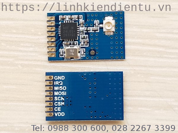 Module RF transceiver nRF24L01+, 2.4GHz, antenna rời