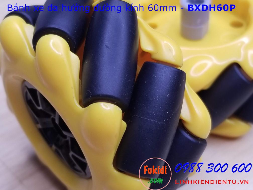 Bánh xe đa hướng omni nhựa màu vàng và đen đường kính 60mm - BXDH60P